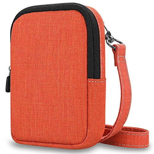 Kodak Digital Cameras Accessories - Fintie Protective Case for Kodak PRINTOMATIC Digital Instant Print Camera - Premium Fabric Soft Pouch with Removable Strap, Denim Orange