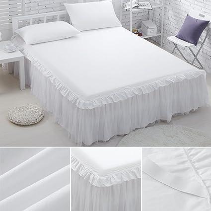 Blanco de encaje de volantes cama falda Reina tamaño con Split ...