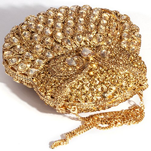 Women Gold Cylindrical Shape Evening Clutch Digabi Bags Crystal H81qFnw