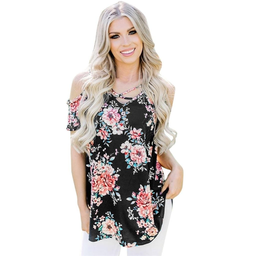Blouses for Womens, FORUU Criss Cross Front Off Shoulder Sexy Floral Printed Tee at Amazon Womens Clothing store: