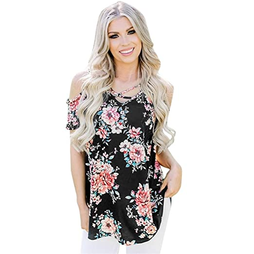 Blouses for Womens, FORUU Criss Cross Front Off Shoulder Sexy Floral Printed Tee