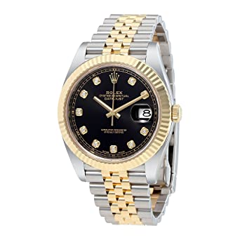 62a46afee55 Image Unavailable. Image not available for. Color: Rolex Datejust 41 Black Diamond  Dial Stee and 18K Yellow Gold Jubilee Mens Watch 12633BKDJ
