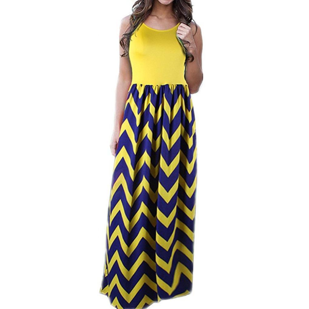 82a59cd852f Women Plus Size Boho Stripe Wave Long Tank Dress Beach Summer Midi Maxi  Sundress(Yellow