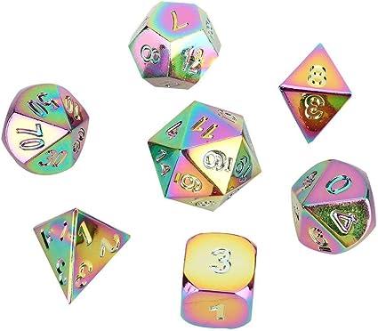 VGEBY1 Dados poliédricos, 7 Piezas Dados Irregulares de Metal Colorido Juego de rol de Varios Lados Dados Niños Niños Juego de Mesa Juguete: Amazon.es: Juguetes y juegos