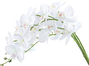 U'Artlines 38 Inch Artificial Phalaenopsis Flowers Branches Real Touch Orchids Flowers for Home Office Wedding Decoration,Pack of 4 (4pcs White Real Touch)