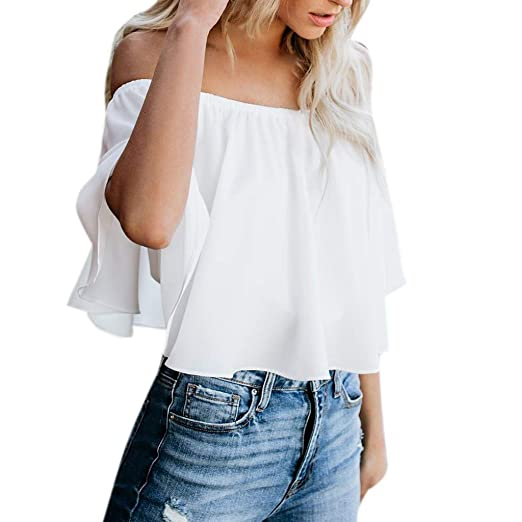 55696f492eb iLOOSKR Blouse Fashion Womens Sexy Off Shoulder Solid Color Summer  Sleeveless Casual Tops at Amazon Women's Clothing store: