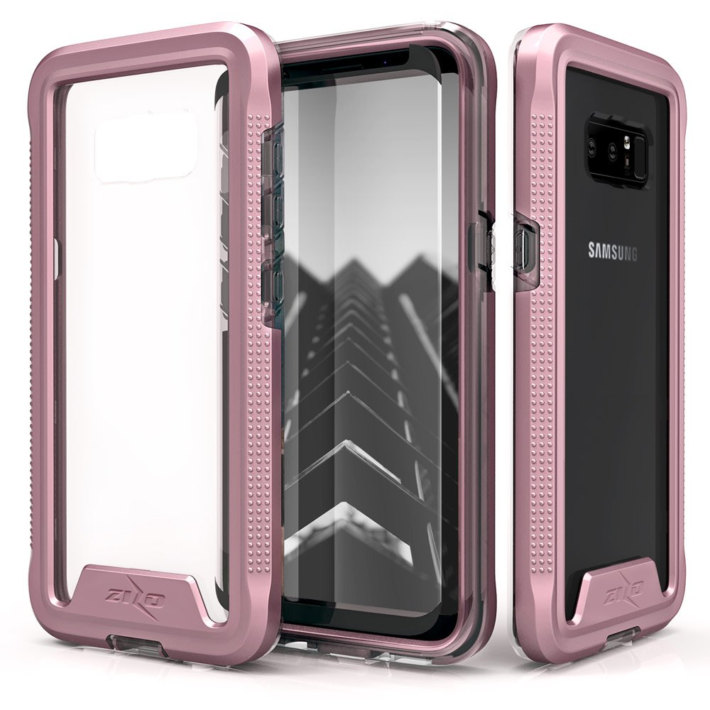 Zizo ION Series Compatible with Samsung Galaxy Note 8 Case Military Grade Drop Tested with Tempered Glass Screen Protector Rose Gold Clear by Zizo