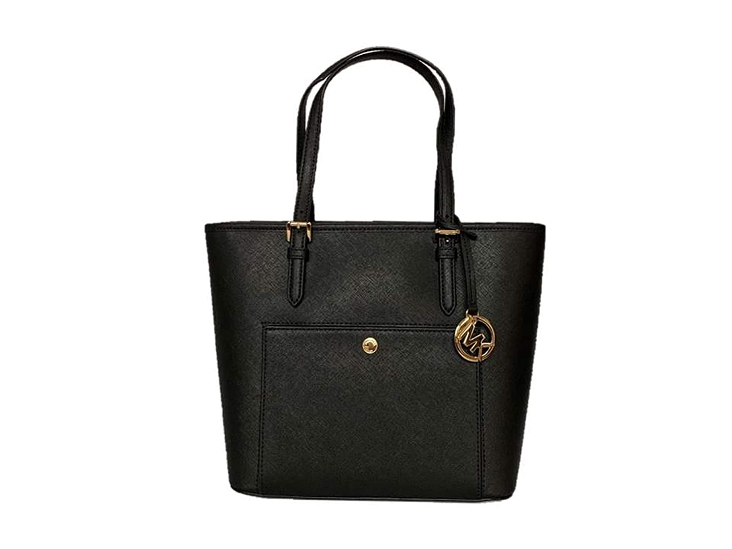 69b3f5eedfdd Michael Kors Jet Set Item Medium Top Zip Saffiano Leather Snap Pocket Tote  - Black: Handbags: Amazon.com