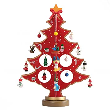 Bestoyard Petit Sapin De Noel En Bois Avec Miniature Noel Deco Noel