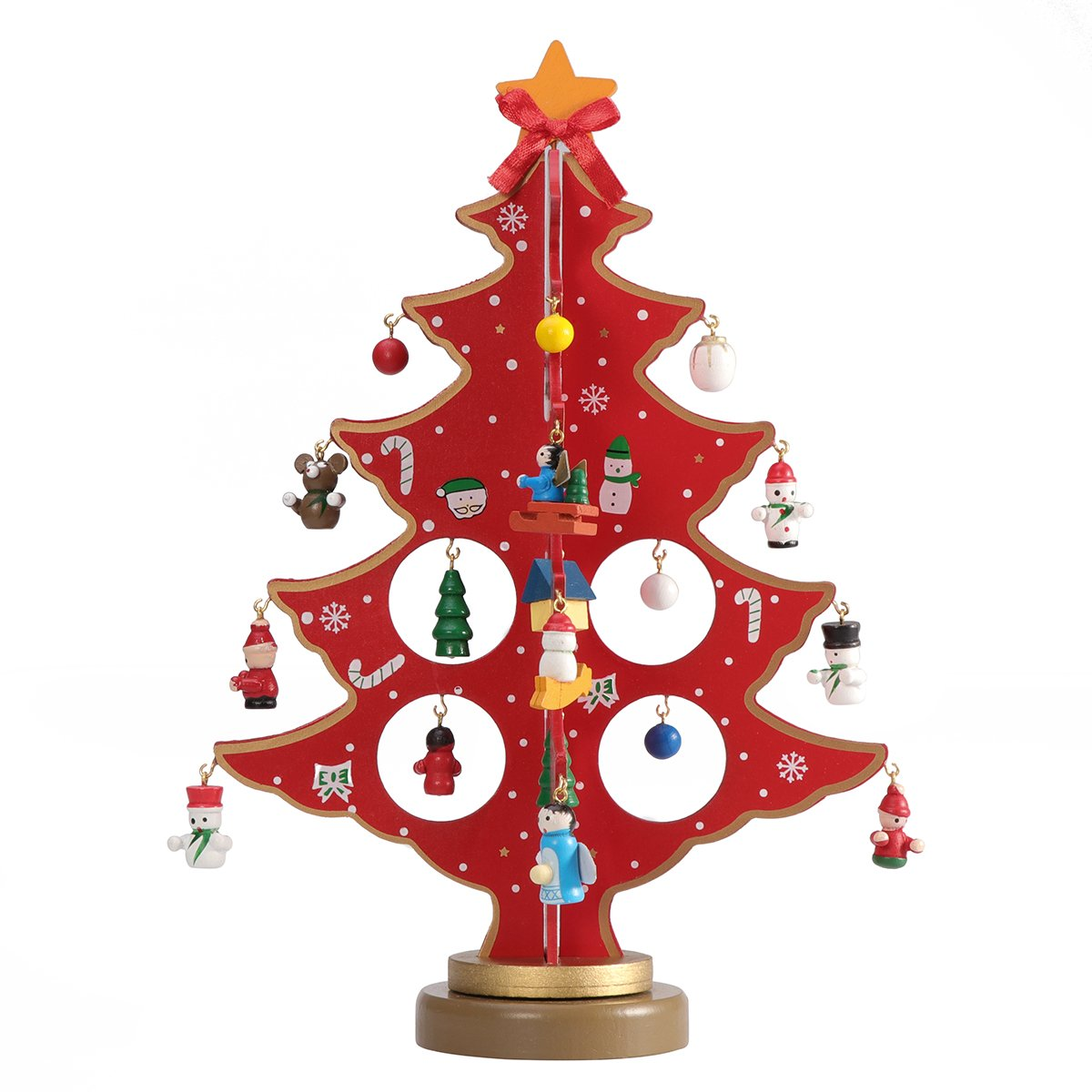 Tinksky Miniature Christmas Ornaments Wooden Mini Christmas Tree Desktop Tabletop Decoration Arts and Crafts Centerpiece Kids Children Gift Teaching Reward Home Party Wedding Decor 30CM (Red)