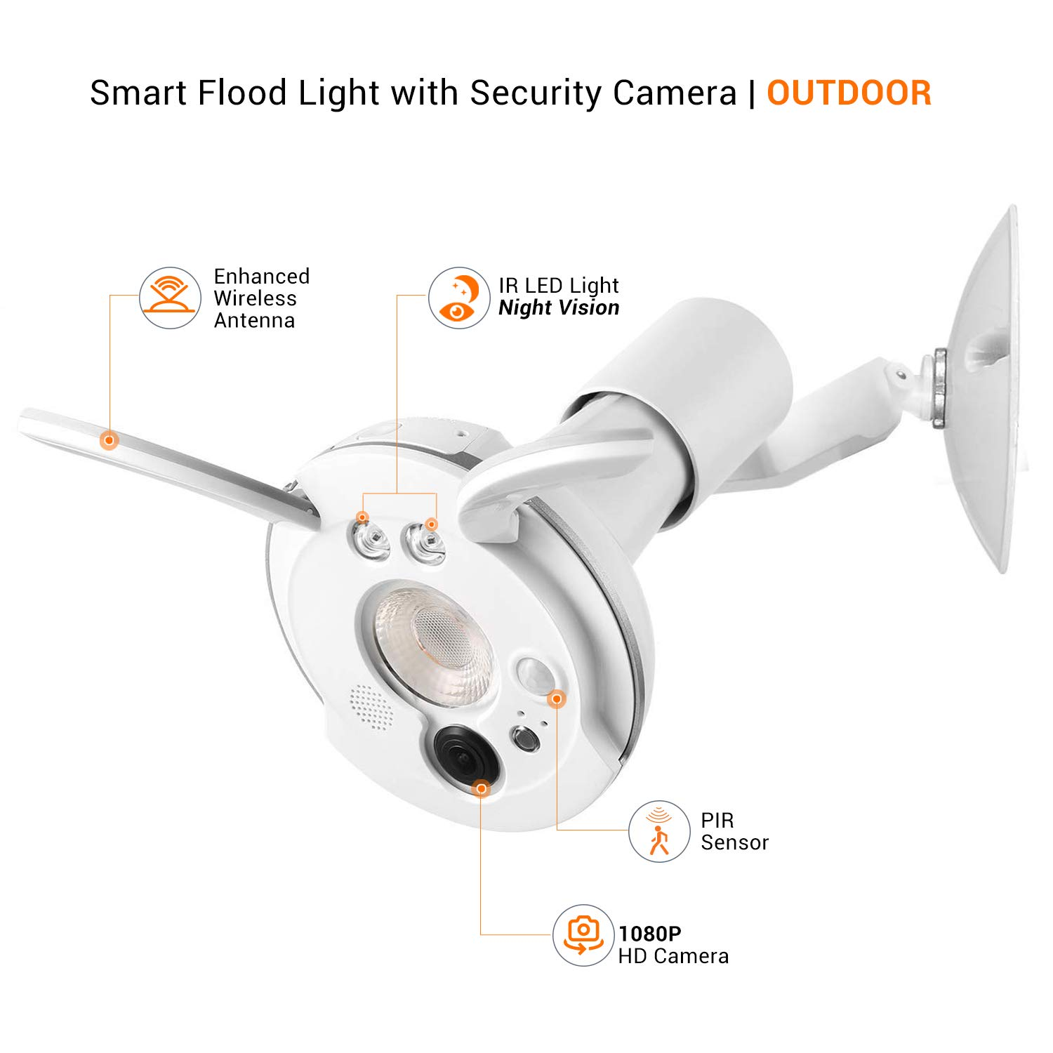 Sengled Smart LED Floodlight with Security Camera Motion-Activated Light, Wireless 1080p HD Camera with Night Vision (Snap - 2nd Gen), Weatherproof for Outdoor Use, PAR38 E26 Base, 1 Pack