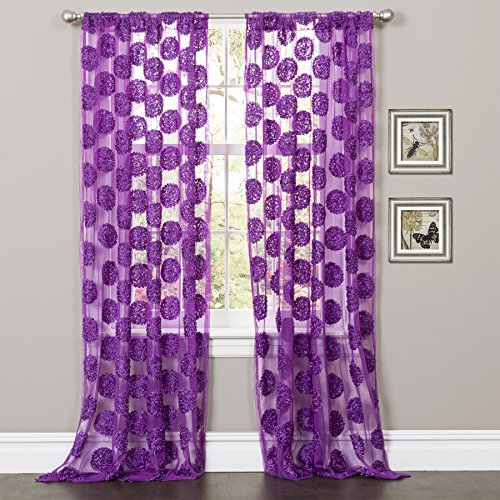 Lush Decor Arlene Window Curtain Panel, 84 by 50-Inch, Purple