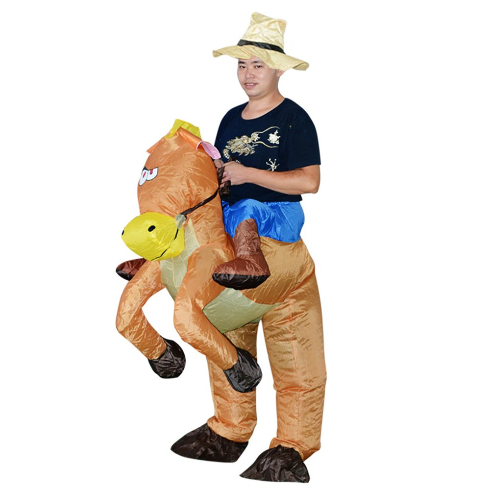 tueselesoleil Halloween Inflatable Adult Western Cowboy Outfit Horse Fancy Dress Costume Cowboy Piggyback Horse Blow Up Animal Fancy Dress Costume