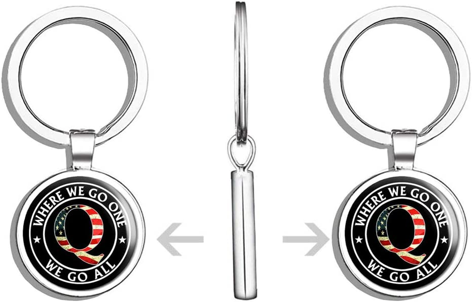 Where We Go One We Go All qanon Trump Double Sided Stainless Steel Keychain Key Ring Chain Holder Car//Key Finder PRS Vinyl Black Round with USA Q