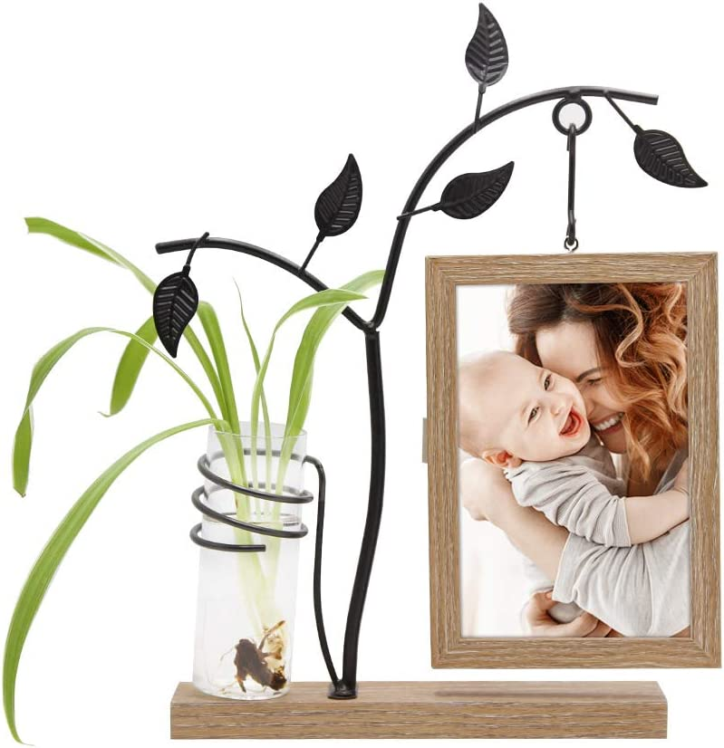 Afuly Unique Picture Frame 4x6 Wooden Desk Photo Frames with Metal Tree and Vase Double Sides Display Mom Day Unique Gift