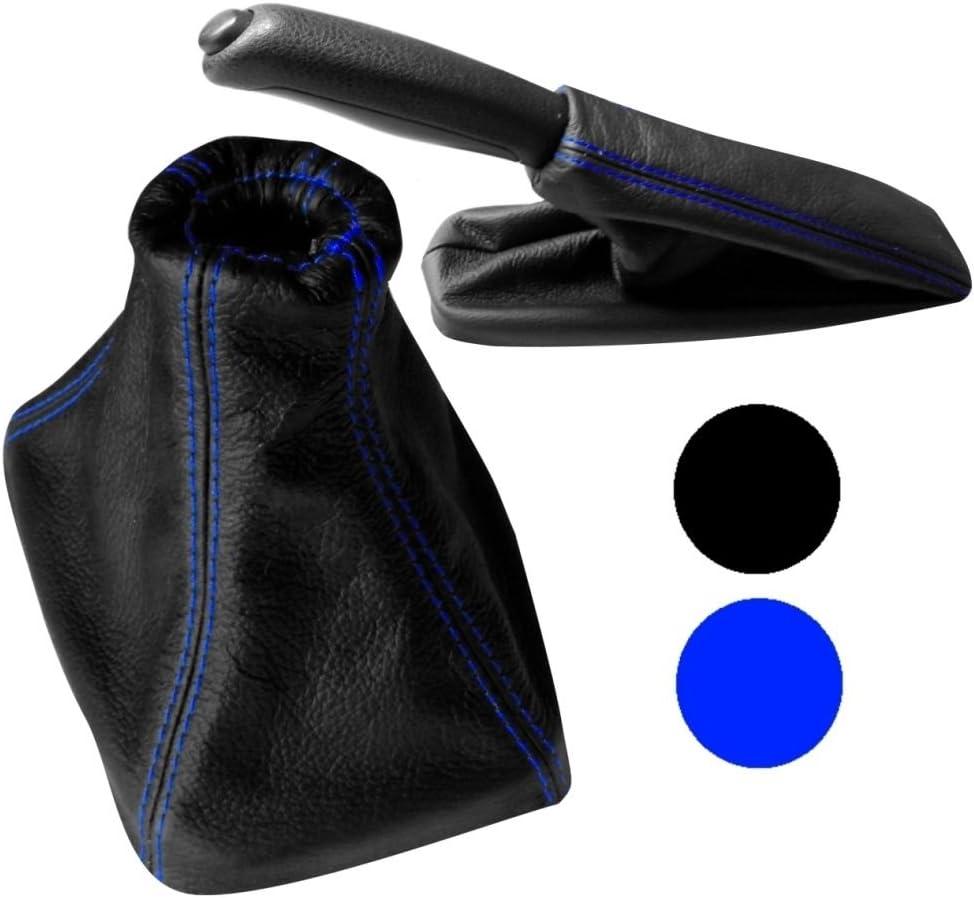 Set di cuffia leva di cambio e freno a mano 100/% vera pelle nera con cuciture blu AERZETIX