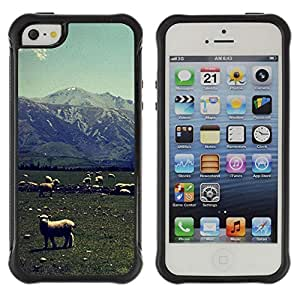 Hybrid Anti-Shock Defend Case for Apple iPhone 5 5S / Lambs On A Field