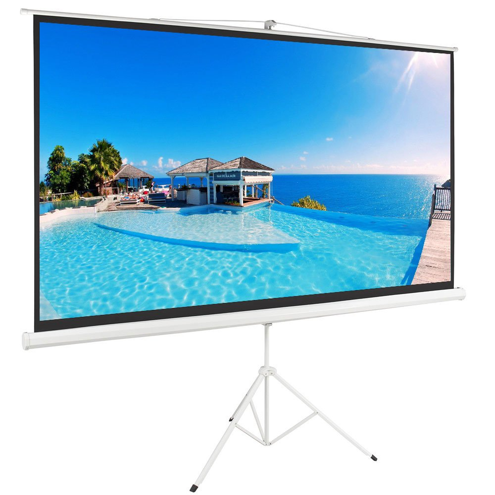 ShowMaven 100'' 16:9 HD Adjustable Tripod Projector Projection Screen Portable Pull Up Foldable Stand