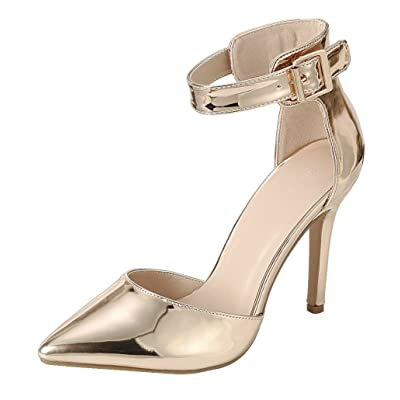 Cambridge Select Women's D'Orsay Closed Pointed Toe Buckled Ankle Strap Stiletto High Heel Pump | Shoes