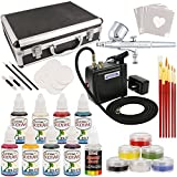 Master Airbrush Deluxe Face and Body Painting Kit with 16 Water-Based Airbrush Colors, 6 - 10ml Face Paint Colors, Brushes, Sponges and Aluminum Storage Case