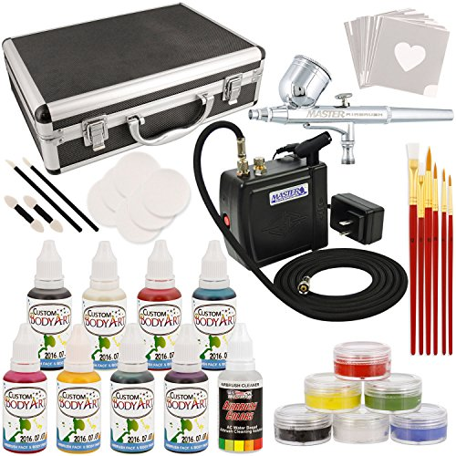 Airbrush Paint Stencil - Master Airbrush Deluxe Face and Body Painting Kit with 8 Water-Based Airbrush Colors, 6 - 10ml Face Paint Colors, Brushes, Sponges and Aluminum Storage Case