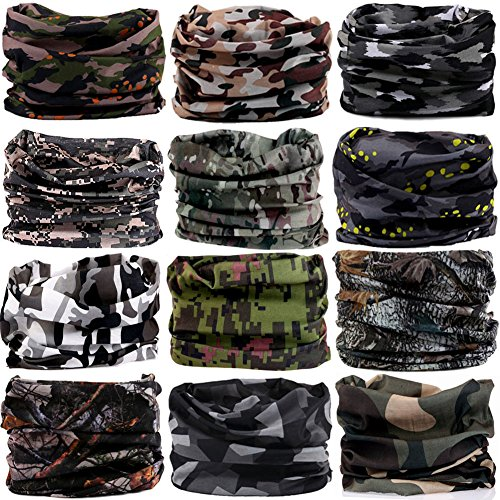 16-in-1 12PCS/8PCS/6PCS Multifunctional Headwear yoga Sports Stretchable Casual Headband Seamless Uv Solid Moisture Neckwarmer Headwrap Mask Bandana Scarf (12pcs-army camouflage) Camouflage Balaclava