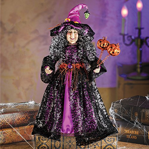 Doll Witch Halloween (winston inc Halloween Statue Doll Witch Black Dress Sparkling Sequin Grey Curls Witch Hat Orange Jack O' Lantern Pumpkin Wand)