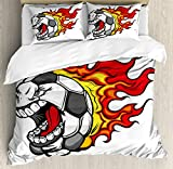 Sports Decor Queen Size Duvet Cover Set by Ambesonne, Cartoon Image of a Flaming Soccer Ball with Aggressive Angry Mean Face, Decorative 3 Piece Bedding Set with 2 Pillow Shams