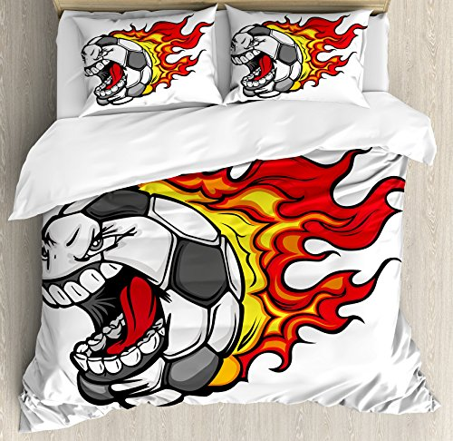 Sports Decor Queen Size Duvet Cover Set by Ambesonne, Cartoon Image of a Flaming Soccer Ball with Aggressive Angry Mean Face, Decorative 3 Piece Bedding Set with 2 Pillow Shams by Ambesonne