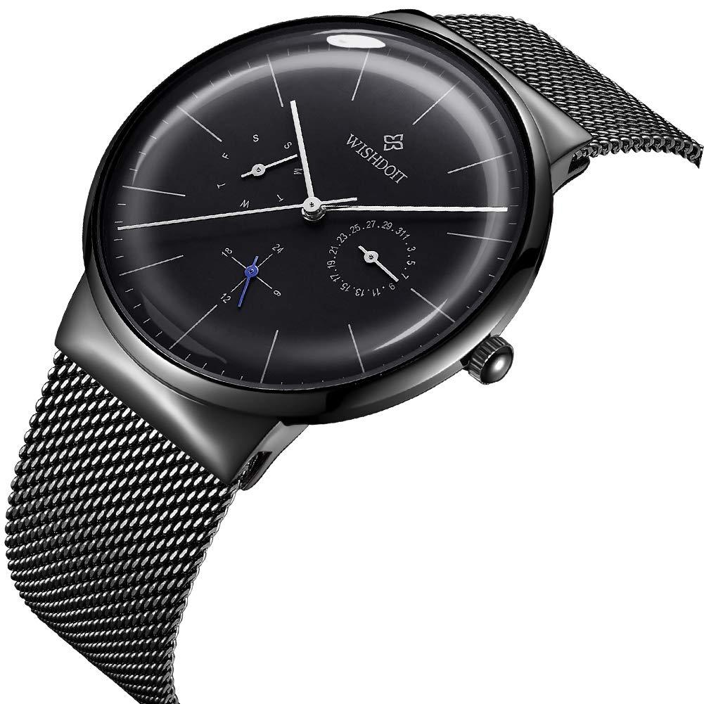 WISHDOIT Reloj para Hombre Movimiento Automático Reloj Negro Acero Impermeable Minimalista Bauhaus-Estilo Moda Reloj de Pulsera Mecánico para Hombres