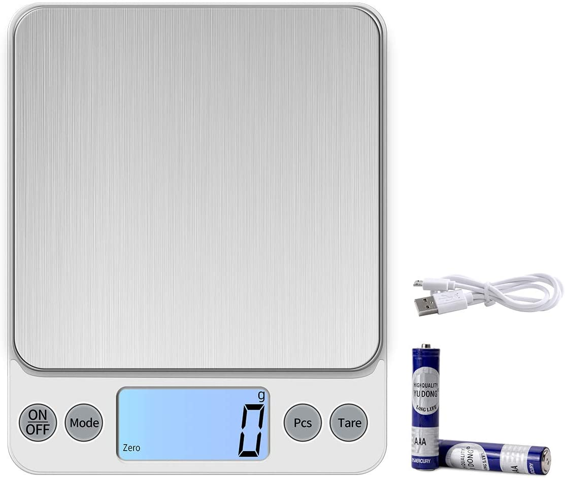 KUBEI Upgraded Larger Size Digital Food Scale Weight Grams and OZ, 10kg/1g Kitchen Scale for Cooking Baking, High Precision Electronic Scale with LCD Display