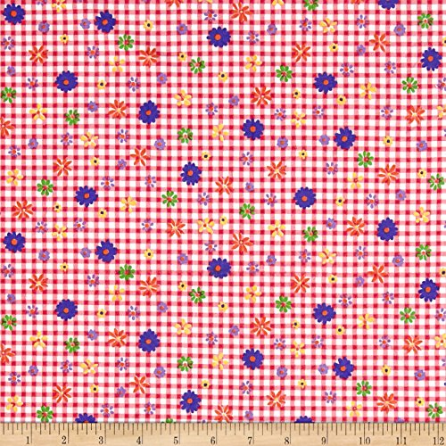 Gingham Flower (Cotton Jersey Knit Garden Flowers on Gingham Pink/Blue/Fuschia Fabric By The Yard)