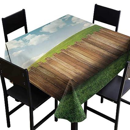 Amazon com: Farmland Elegance Engineered Tablecloth Wooden