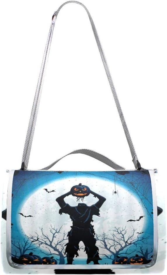 XINGAKA Coperta da Picnic Tappetino Campeggio,Horror House Vintage in Legno su Wierd Moon Night,Giardino Spiaggia Impermeabile Anti Sabbia 2