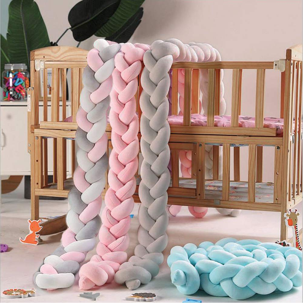 Hbsite Baby Crib Bumper Knotted Braided Plush 158 inch 4m Baby Crib Bumper Knotted Nursery for Newborns Bed Sleep Bumper 4M, Graues wei/ßes Rosa