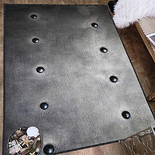 Industrial Non-Slip Area Rug Pad,Black Grunge Plate Armour Digital Print with Rivets Industrial Theme Print No Chemical Odor Black Silver 63