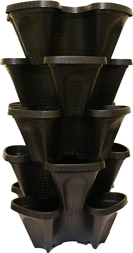 Large 5 Tier Vertical Garden Tower   5 Black Stackable Indoor / Outdoor  Hydroponic And Aquaponic