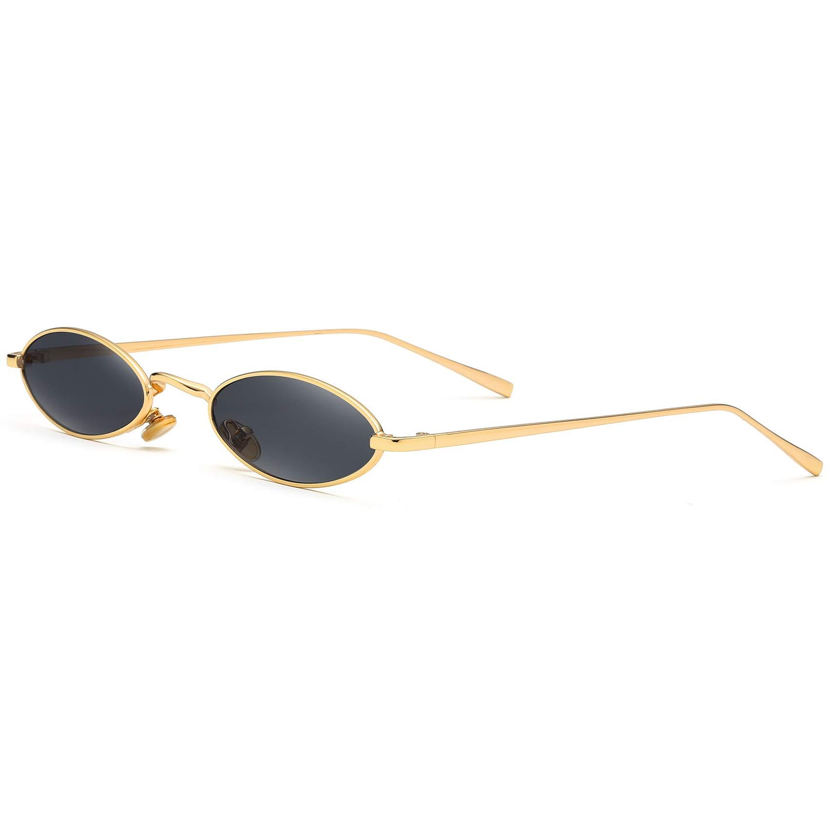 Vintage Sunglasses for Women Retro Oval Small Slender Sun Glasses men Metal Frame (Gold/Black)