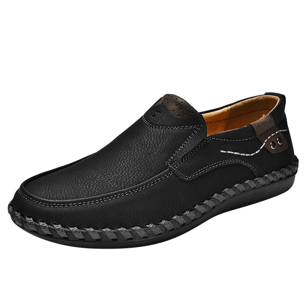 Mens Loafers Large Size Casual Fashion Hiking Shoe Light Slip-On Indoor and Outdoor Shoes Men Loafers Black by Miuye yuren-Shoe