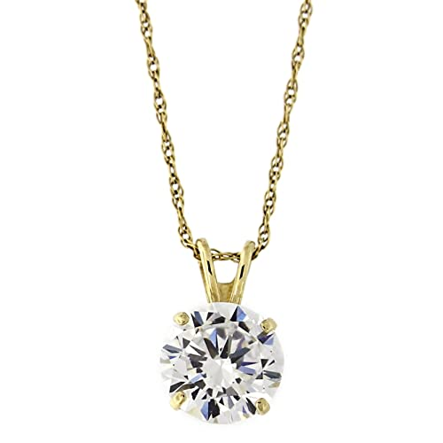 14k Solid Yellow Gold 7 Millimeters Simulated Birthstone Solitaire Pendant Necklace