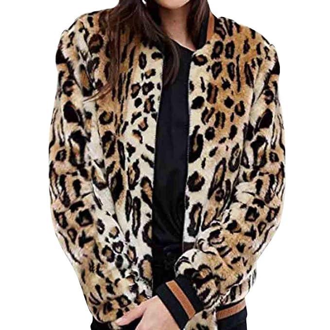 Yvelands Womans Casual Cardigan Leopardo Abrigo de Cuello de Piel Gruesa Piel sintética Bolsillo con Cremallera Outwear: Amazon.es: Ropa y accesorios