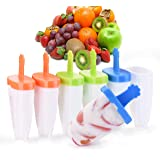 Ice Pop Molds Set, IKICH Ice Popsicle Molds BPA Free & FDA Certified, 6 Easy-Release Reusable Ice Pop Maker Mold with Sticks Drip-Guard Handle for Kids Adults DIY Ice Cream Molds
