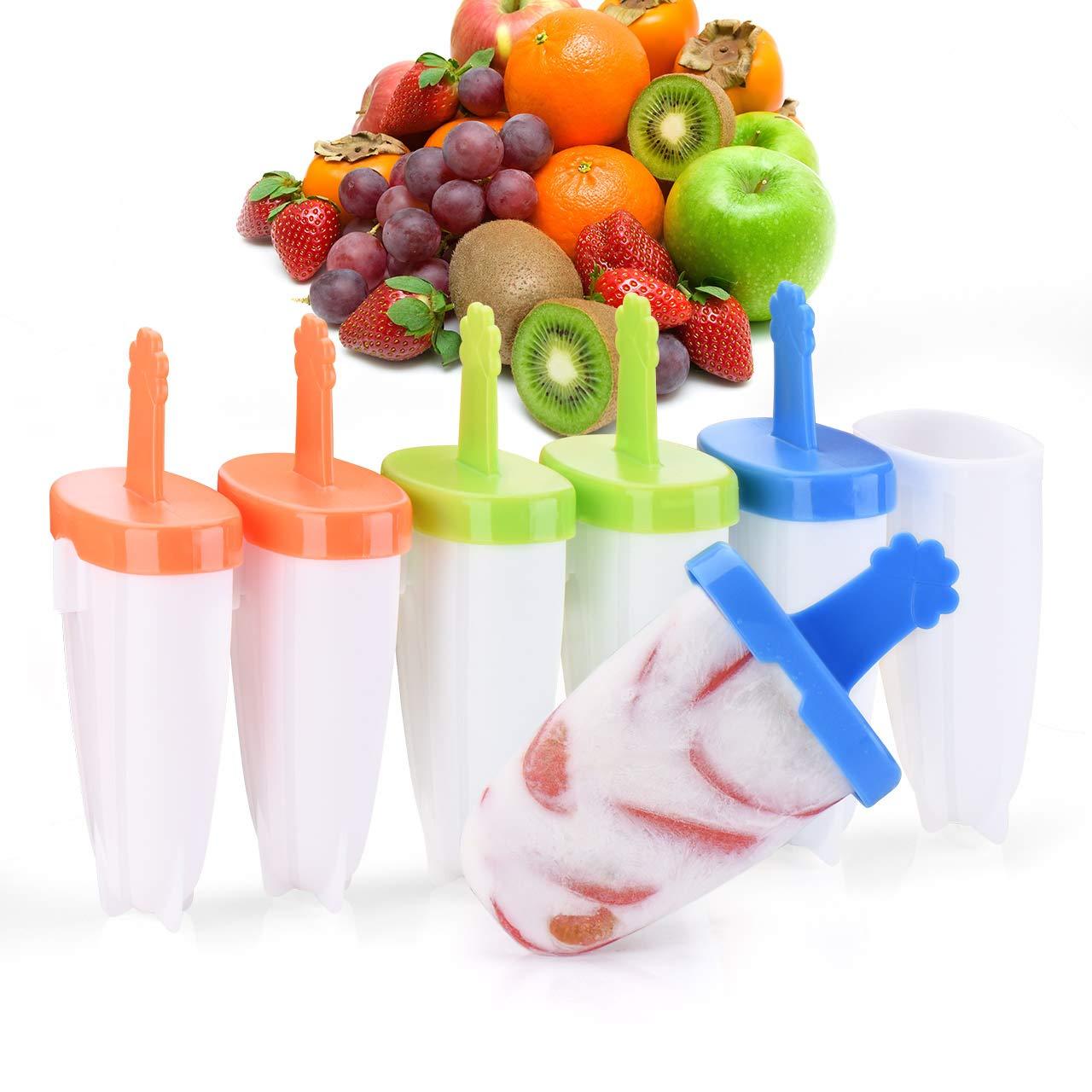 Glaces Moule /À Esquimaux avec Attaches pour Combinaison Enfants Moule /À Popsicle sans Bpa pour Fruit 6 Moules /À Sucettes Glac/ées IKICH Moules /À Glaces en Plastique Couvercle Anti-D/éversement