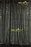 ShinyBeauty Black Draping Sequin Fabric Backdrop 120'' x 120'', Handmake Sequin Fabric, Sequin Background-10FTx20FT