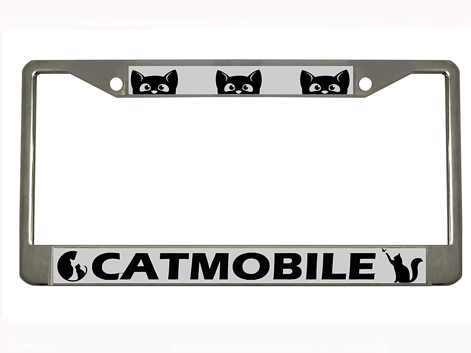 Generic Catmobile Chrome Metal License Plate Frame Tag Holder,12x6 STHANCAT Premium License Plates