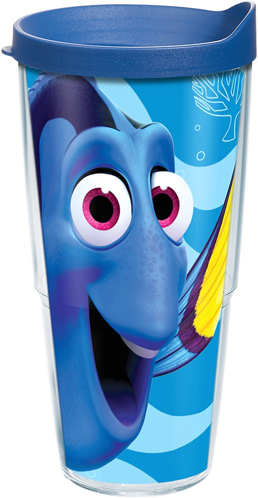 Tervis 1219300 Disney/Pixar - Finding Dory Colossal Tumbler with Wrap and Blue Lid 24oz, Clear