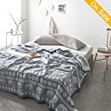 HMTOP Elephant Printed Lightweight Thin Summer Quilts Soft Bedding Comforter Bohemia Exotic Patterns Inspired Design (Twin Size,Blue)