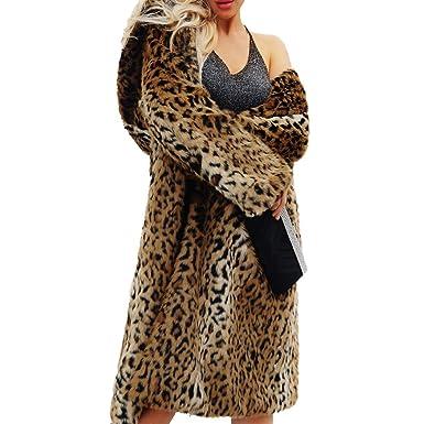 98383b3ffafa2 Raylans Women s Vintage Faux Fur Leopard Print Mid-Length Coat Outwear