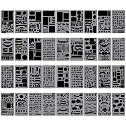 """Biubee 36 Pcs Plastic Stencils Over 1500 Different Patterns - 4"""" x 7"""" Plastic Planner Stencils Drawing Templates Set for Notebook, Diary, DIY Scrapbook"""