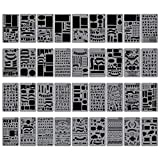 Biubee 36 pcs Bullet Journal Stencils Over 1500 Different Patterns - 4'' x 7'' Plastic Planner Stencils Drawing Templates Set for Notebook, Diary, Scrapbook DIY